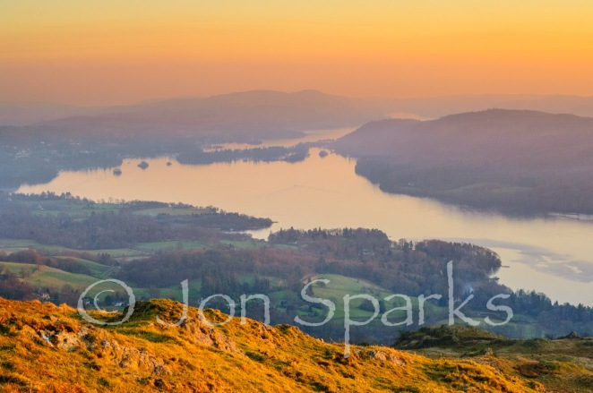 Windermere from Wansfell – almost a complete view of the length of the lake