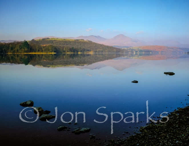Morning, Coniston Water; Dow Crag and Coniston Old Man on the skyline