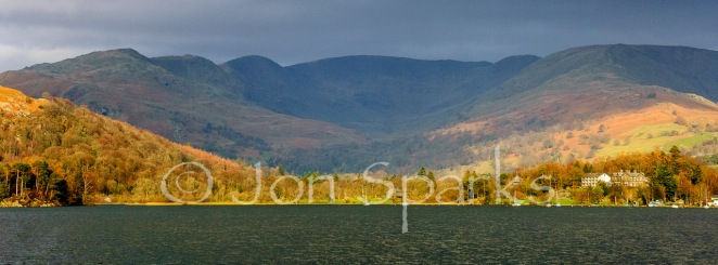 'A ring of great hills around the head of the lake': the Fairfield Horseshoe from a boat on Windermere.