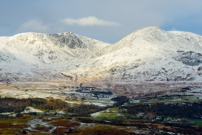 Dow Crag and Coniston Old Man ('Kanchenjunga') from Top o'Selside