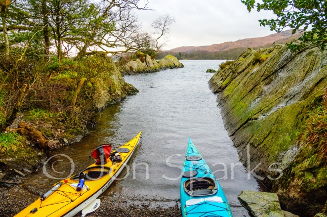 Kayaks ready to leave the secret harbour